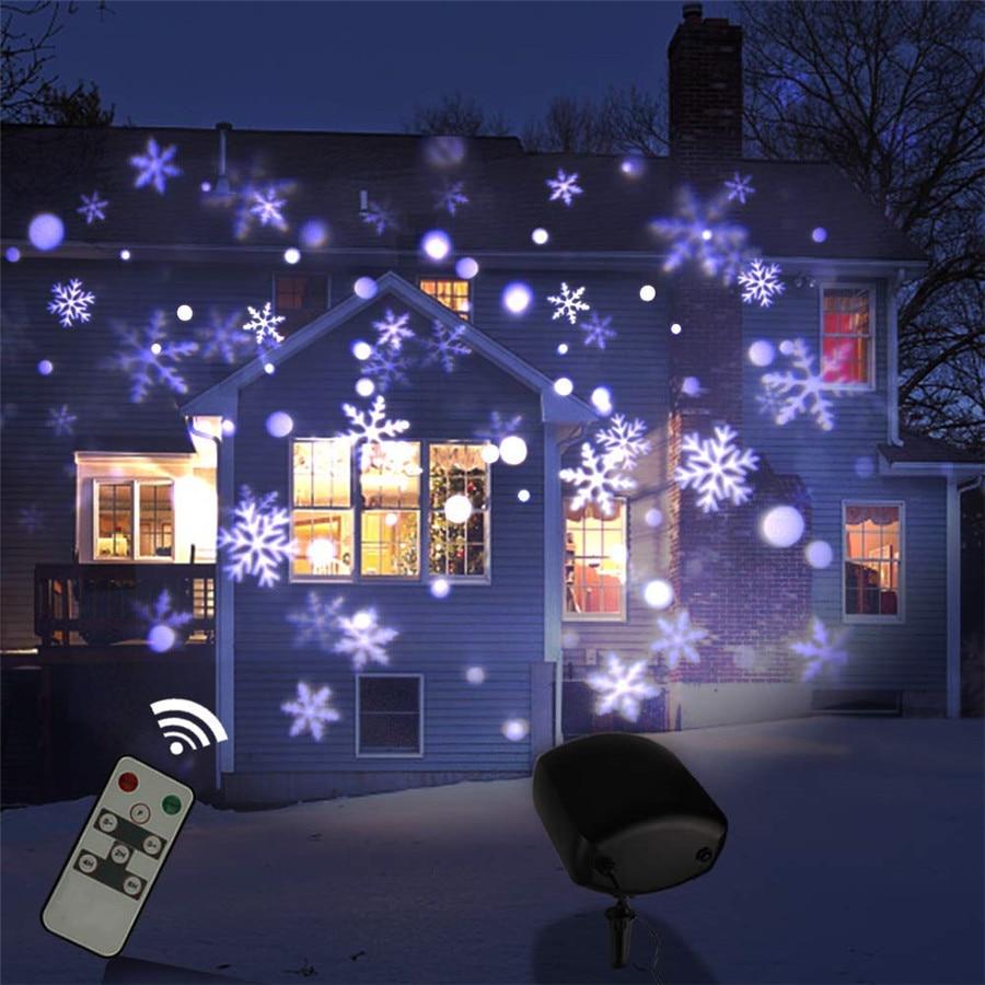 Chute de neige en plein air projecteur Laser lampe IP65 mobile étanche jardin de noël nouvel an flocon de neige lumière Laser LED lumière de scène