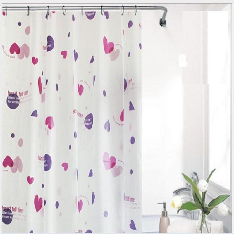 US $40.97 |2016 PEVA Stoff Moderne Badezimmer Dusche Vorhänge Lila Herz  Wasserdicht Bad Vorhang Rideau De Douche 180*180 cm 12 haken YL39-in ...