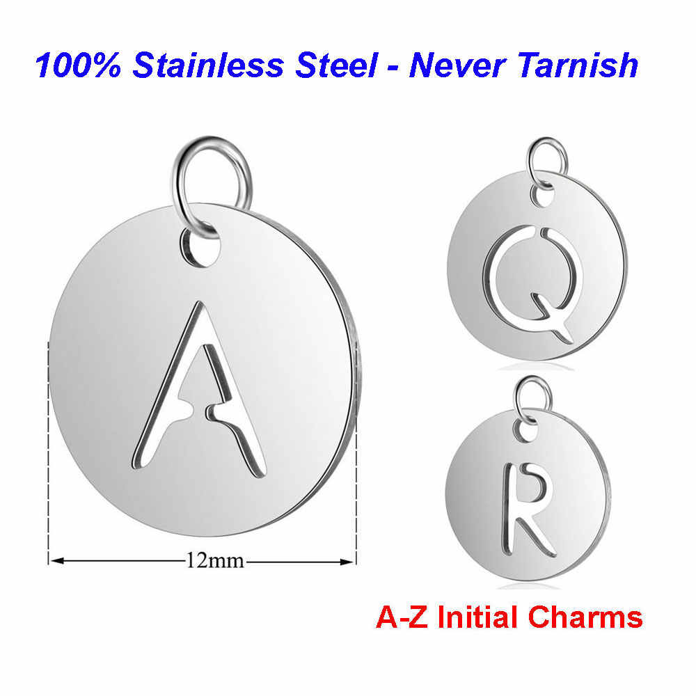 5pcs/lot Initial Stainless Steel Charm Pendant Vnistar 100% Steel Alphabet Necklace Pendant DIY Jewelry Making Charms