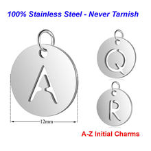 5pcs/lot Initial Stainless Steel Charm Pendant Vnistar 100% Steel Alphabet Necklace Pendant DIY Jewelry Making Charms(China)