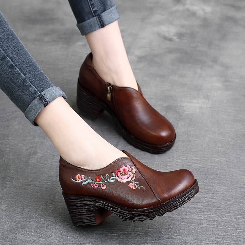 Tyawkiho Genuine Leather Black Ankle Boots Women Embroidery 6 CM High Heels Retro 2018 Spring Women