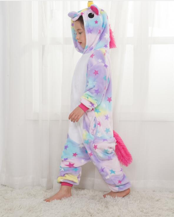 Stars Unicorn Pajamas For  Children  Winter Cute Animal Flannel Hoodie Pyjama Kid Sleepwear Pajama Unicornio