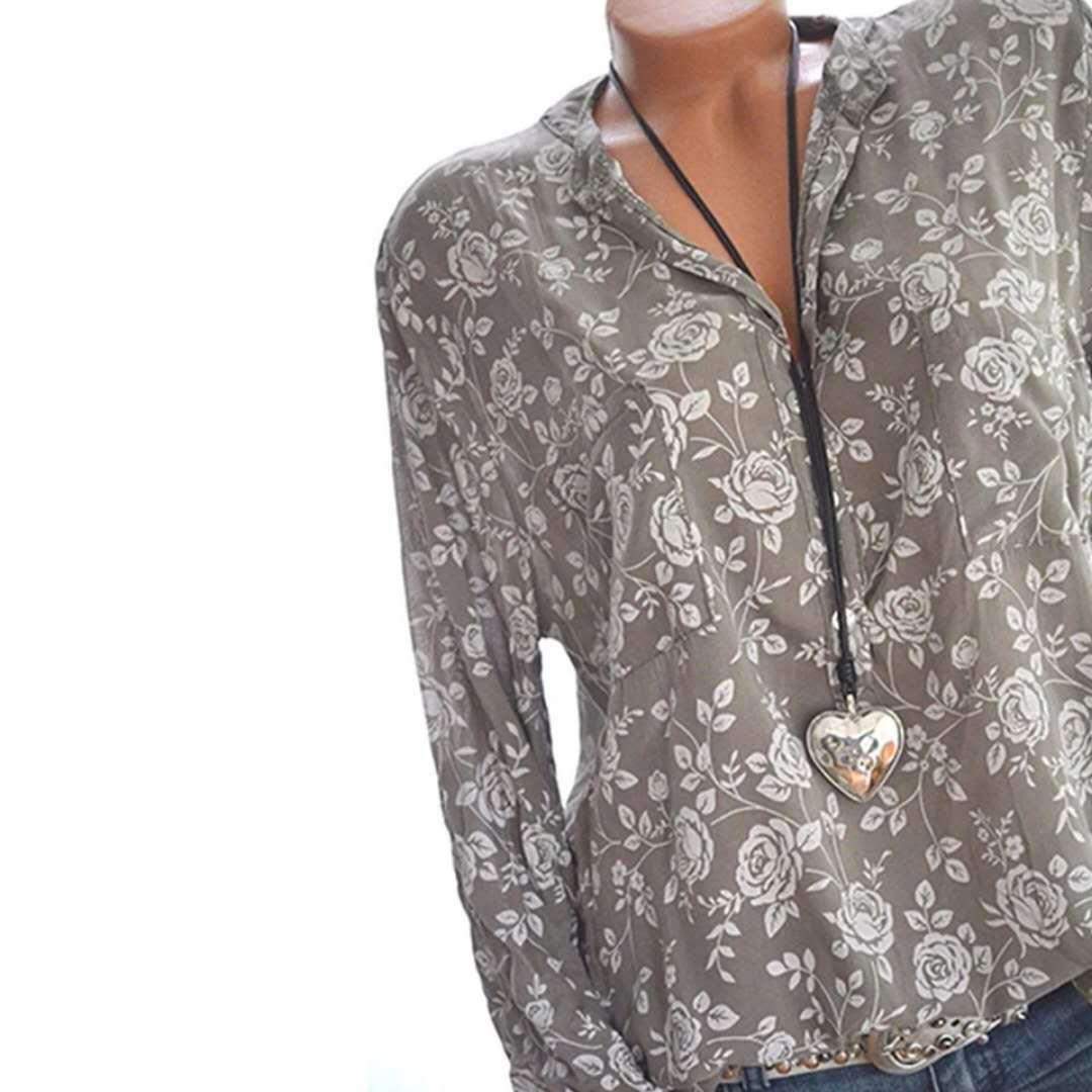 Elegant 5XL Plus Large Size Women's Blouses Summer Tops New Leisure Blouse Grey Loose Flower Print V Neck Long Sleeve Shirts