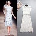 Vestido de la manera vestidos de cuello Peterpan agua flores en primavera y verano de las mujeres de moda runway 2016 Enviar Correa Libre del envío