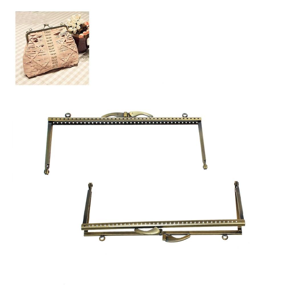 DoreenBeads Square Metal Purse Frame Handle for Clutch Bag Handbag Accessories Making Kiss Clasp Lock Antique Bronze Frame 1PC