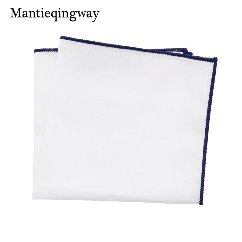 Mantieqingway Solid Color Men's White Handkerchief  Small Pocket Square Business Chest Towel Hanky Gentlemen Suit Hankies