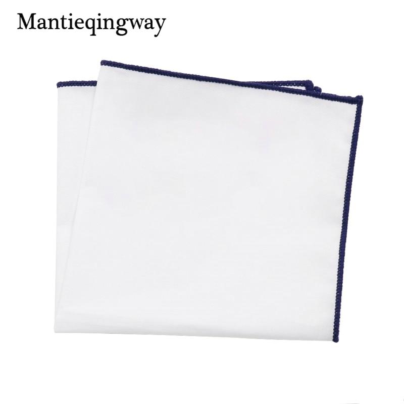 Mantieqingway Solid Color Mens White Handkerchief Small Pocket Square Business Chest Towel Hanky Gentlemen Suit Hankies