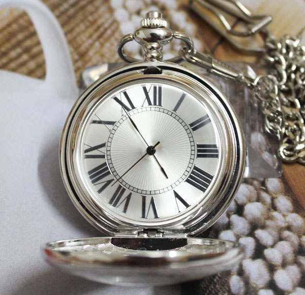Wholesale ANTIQUE  SILVER QUARTZ POCKET WATCH CASE FOR MAGNIFER