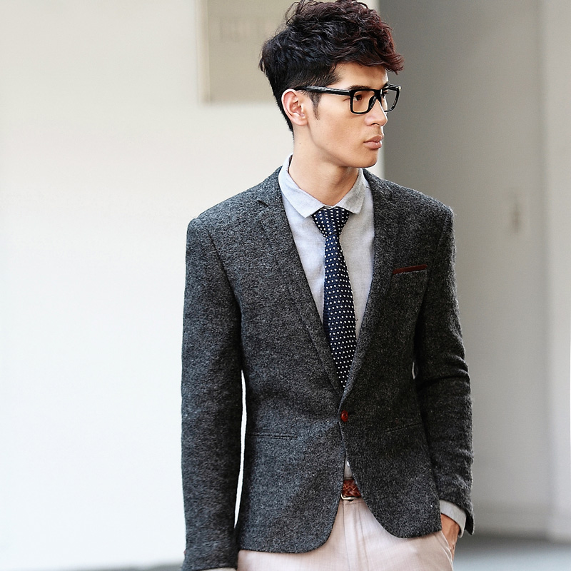 free shipping black/grey men one button fashion blazer casual men ...