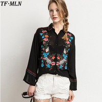 Women Full Cotton Floral Embroidery Blouses White Long Blouse Oversized Long Sleeve Loose Shirt Office Wear