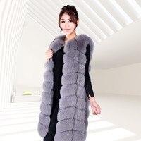 2018 New Winter Fox Fur Vest Jackets Long Dresses Slim Cubes Size Kanjian Jacket Free Shipping