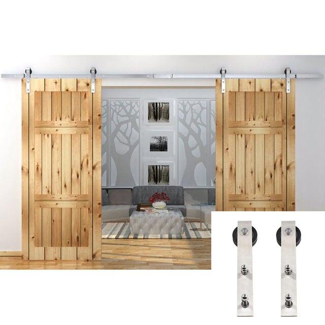 Double Rustic Barn Door Hardware Stainless Steel Sliding Roller Track Kit