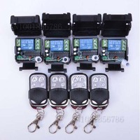 Free shipping 12V 1ch wireless remote control switch system 4 transmitter & 4 receiver relay smart house z wave