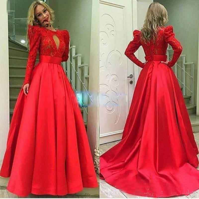 258e0430e8 Lace Muslim Prom Dresses 2017 High Neck Long Sleeve Prom Dresses Red Zipper  Back Formal Dresses Evening Dress
