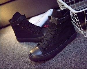 Image 3 - JCHQD moda Sneakers alte scarpe di tela scarpe casual da donna bianco piatto cestino femminile stringate scarpe da ginnastica solide Chaussure Femme