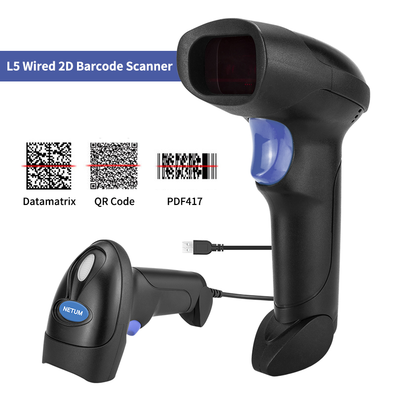 RD-2013 Wired USB Barcode Scanner AND NT-1228W Wireless 1D/2D QR Bar Code Reader PDF417 for POS System