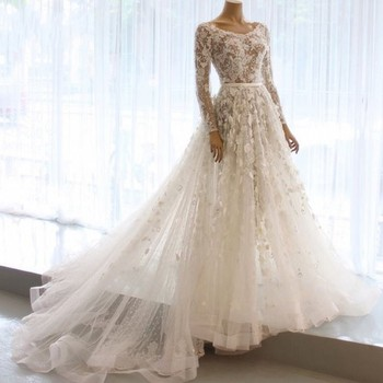 Real Picture Wedding Gown Ivory Full Sleeves Dubai Bridal Dresses vestido de noiva Romantic Wedding Gowns 2019 Robe De Mariee