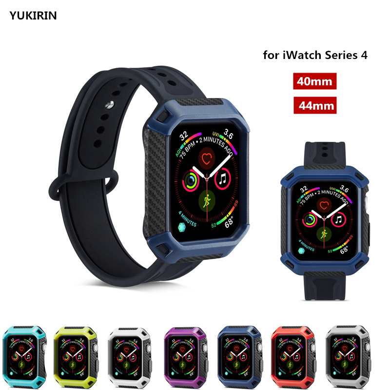 YUKIRIN Carbon Fiber Lines PC Double Color Sport Band Case TPU Rubber Cover for iWatch Series 4 Cover for Apple Watch 40mm 44mm цвета apple watch 4