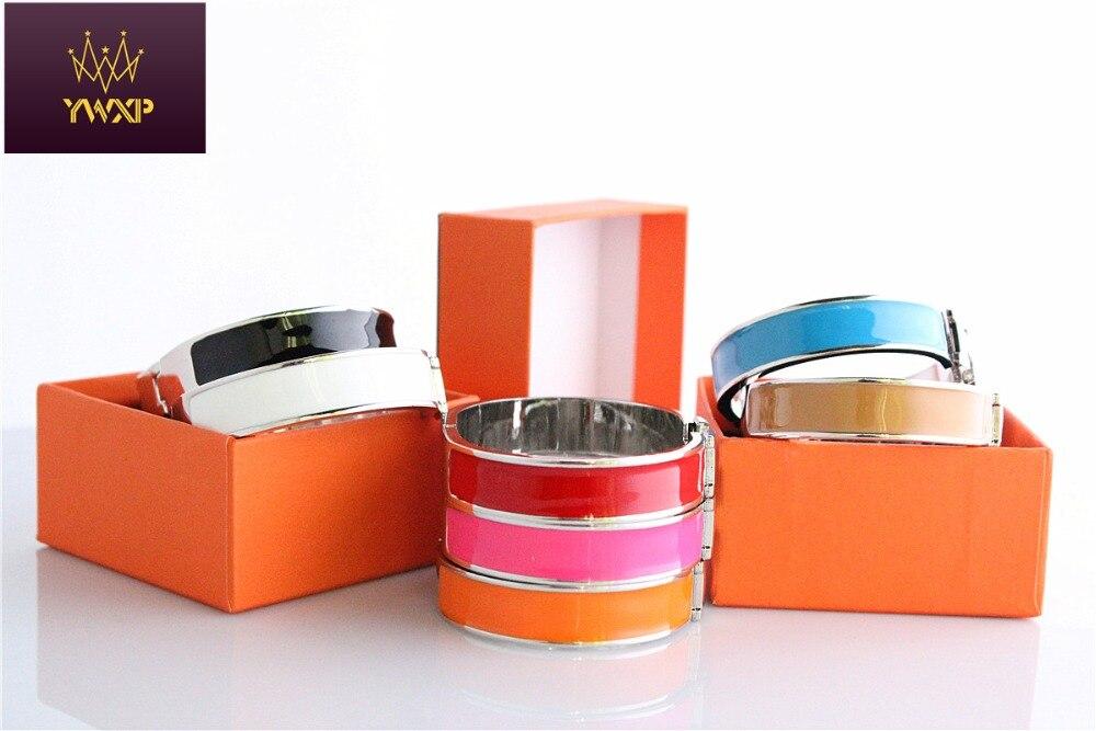12mm Luxury Cuff H Bracelets Bangle Wristband Enamel Bracelet Letter Buckle Top Silver Gold Plated Bracelets