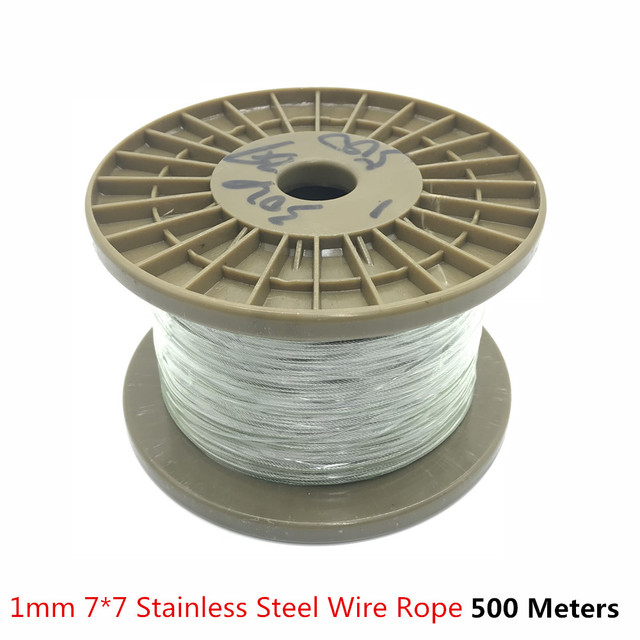 500m/lot 1mm High Stainless Steel Wire Rope Tensile Diameter 7X7 ...