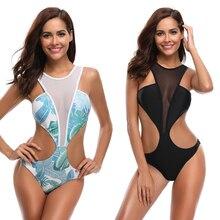 2019 Women Swimwear One Piece Swimsuit Female Leaf Print Bathing Suit Backless Waist Swimwears Beach Towel Swimsuit mesh insert open back leaf print swimsuit