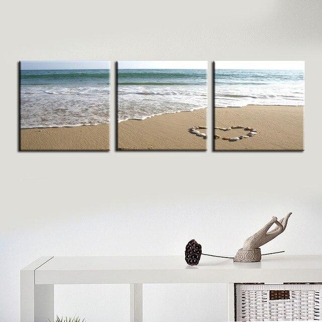 Frameless Beach Canvas Painting Wall Pictures For Living Room Modern 3 Panel Canvas Art Quadros De Parede Sala Estar Cheap