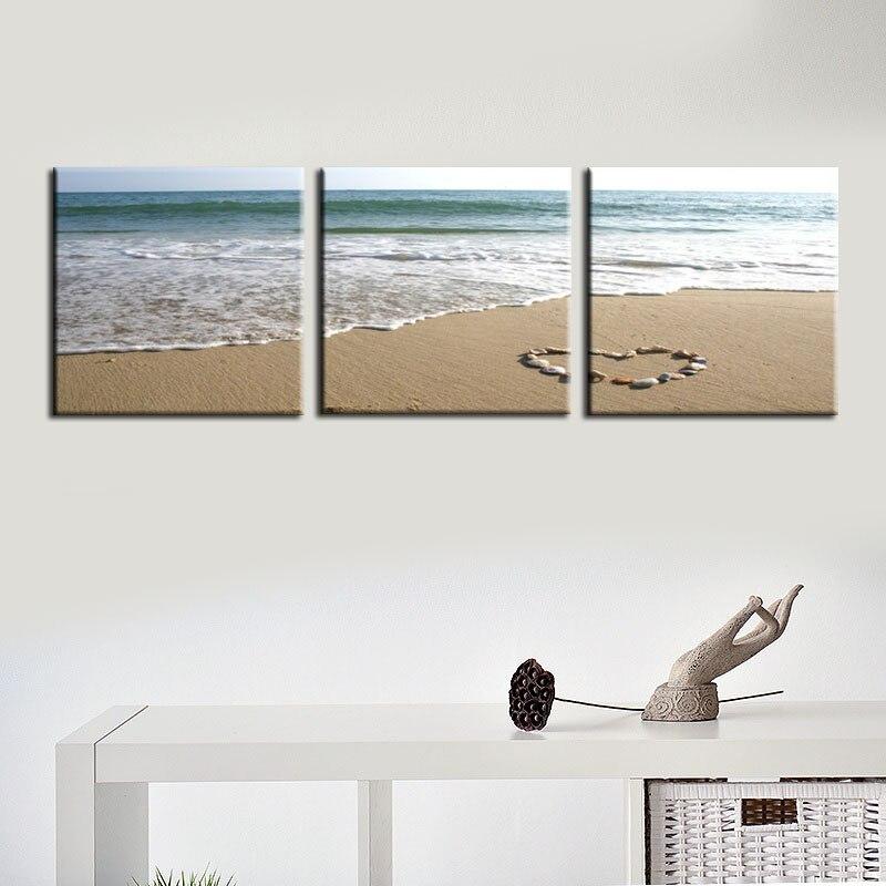 Playa de frameless lienzo pintura cuadros para sala moderna 3 panel ...
