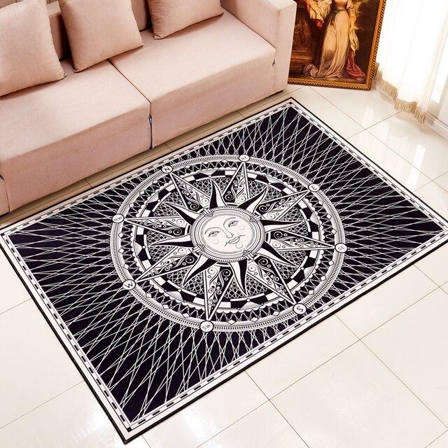 Heißer Verkauf Fornasetti Titan Square Style Europäischen Schwarz Weiß Wohnzimmer  Teppich Wohnzimmer Tisch