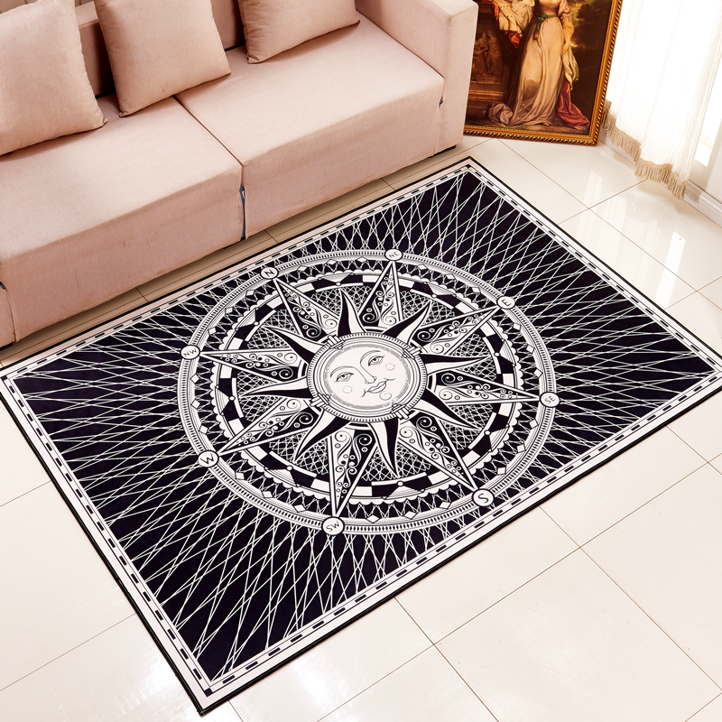 Hot Sale Fornasetti Titan Square Style European Black And White Living Room Carpet Coffee Table