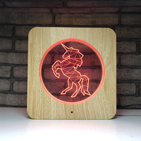 LED 7 color touch color change light 3d night light wood grain Acrylic table lamp Creative unicorn