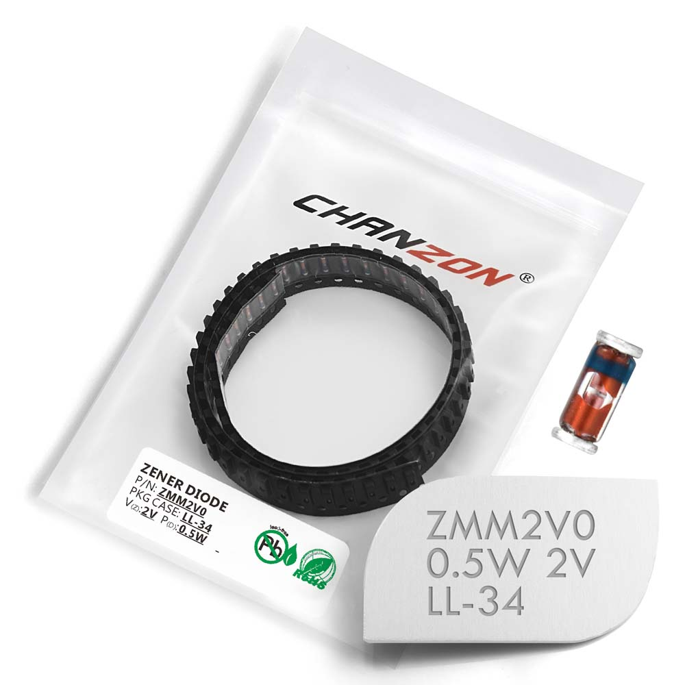 (100/500/2500 Pcs) SMD Zener Diode 0.5W 2V ZMM2V0 LL-34 (SOD-80 MiniMELF / 1206) 0.5 Watt 2 Volt ZMM 2V0