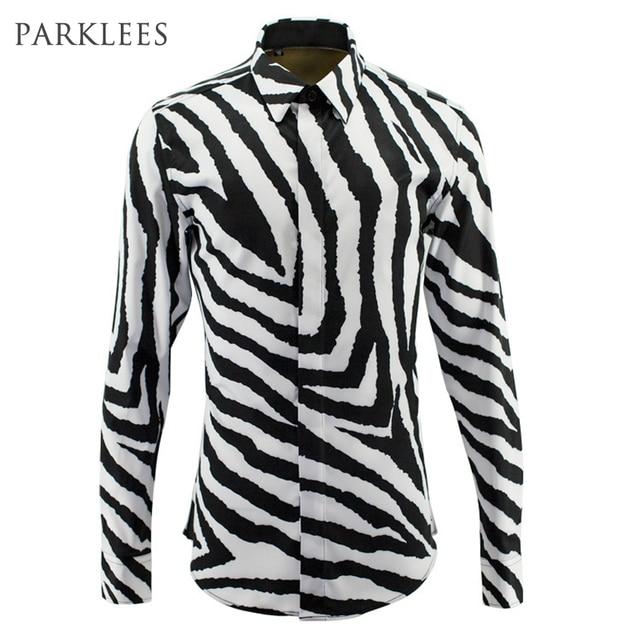 Luxury Black White Striped Shirt Men Chemise Homme 2017 Fashion ...