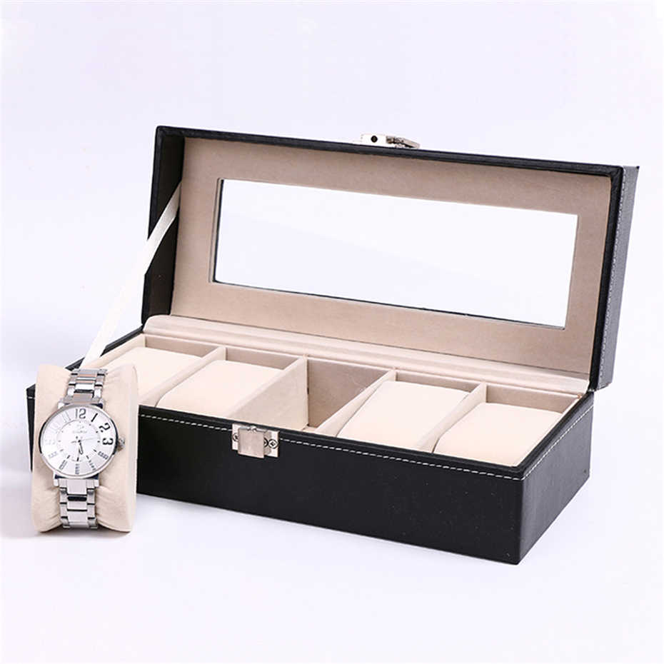 5 Grid Watch Box Luxury PU Leather Wristwatch Gift Case Jewelry Display Boxes Storage Holder Reloj Caixa Relogio for Men Gift