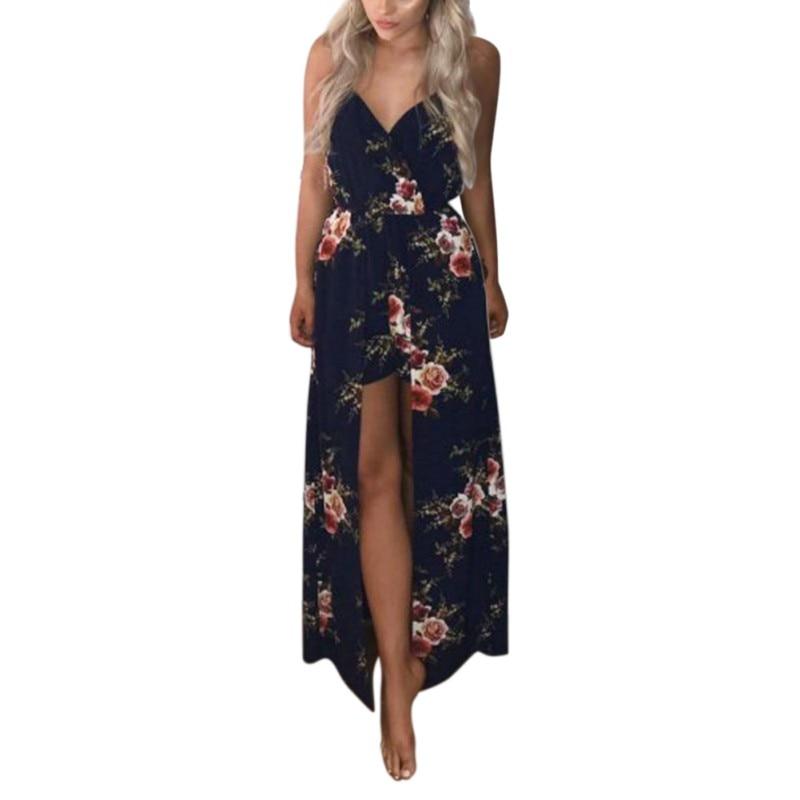 Summer Women Split Dress Floral Print Sexy Deep V Neck Women Dresses Vestido Costume Female Cloth New