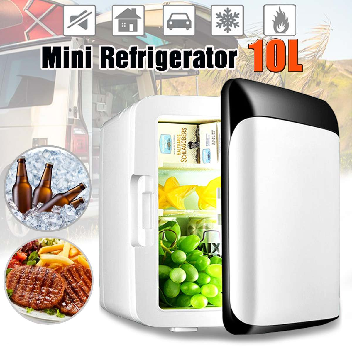 10L Car Refrigerator Mini Fridge Car Home Dual use Small Household Refrigeration Dormitory Mini Freezer With Handle-in Refrigerators from Automobiles & Motorcycles    1