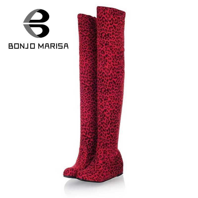 ФОТО BONJOMARISA Flock Thigh High Boots Fashion Women Over Knee High Long Boots Sexy Leopard Hidden Wedge Winter Shoes Woman