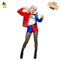 Psychologist Harley Quinn Costume Carnival Party Cool Clown Girl Decoration Fancy Dress Adult Sexy Harleen Quinze Cosplay Outfit