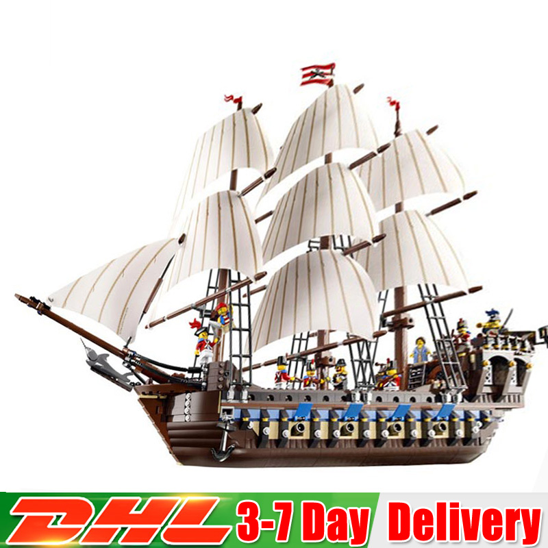 2018 DHL Pirates of the Caribbean Pirate Ship Warships Model Building Kits Block Briks Toys Gift Compatible Legoinglys 10210
