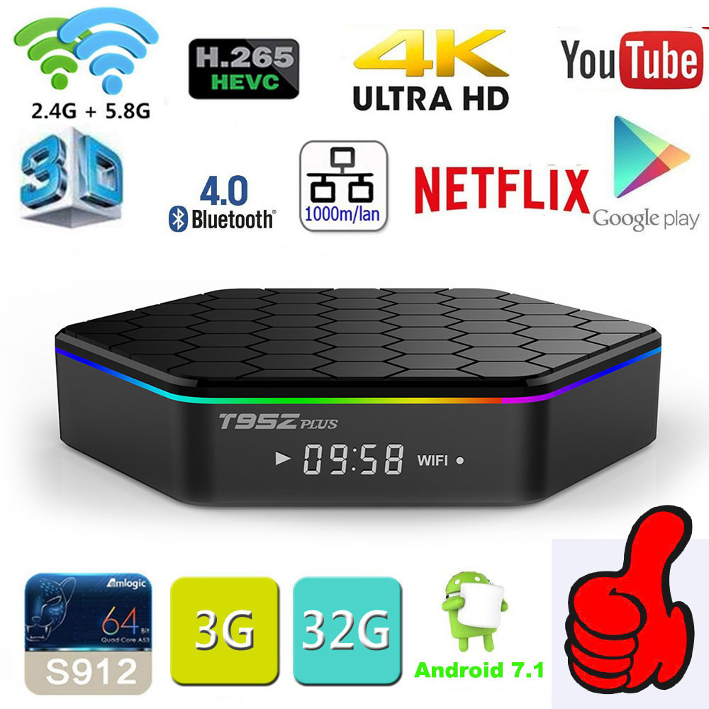 Original T95Z Plus CAIXA Smart TV 2 gb/16 gb 3 gb/S912 32 gb Amlogic Octa Núcleo android 7.1 TVBOX 2.4g/5 ghz Wi-fi BT4.0 4 k Set Top Box