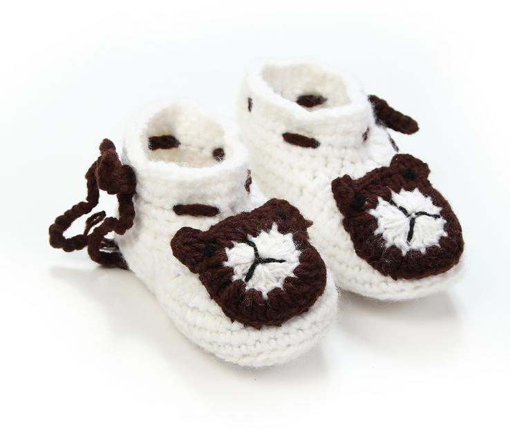 1Pair Cute soft baby boys girls cartoon bear handwork knit string toddler font b shoes b