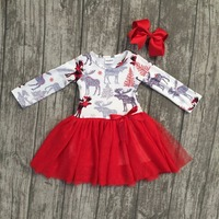 New Arrival Christmas Fall Winter Baby Girls Cotton Moose Reindeer Dress Ruffle Children Clothes Boutique Outfits