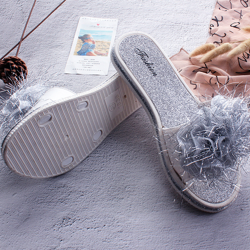 fox fur slides women shoes house slippers 2019 summer fashion unicorn slippers women casual comfortable Outside PVC Beach shoes in Slippers from Shoes