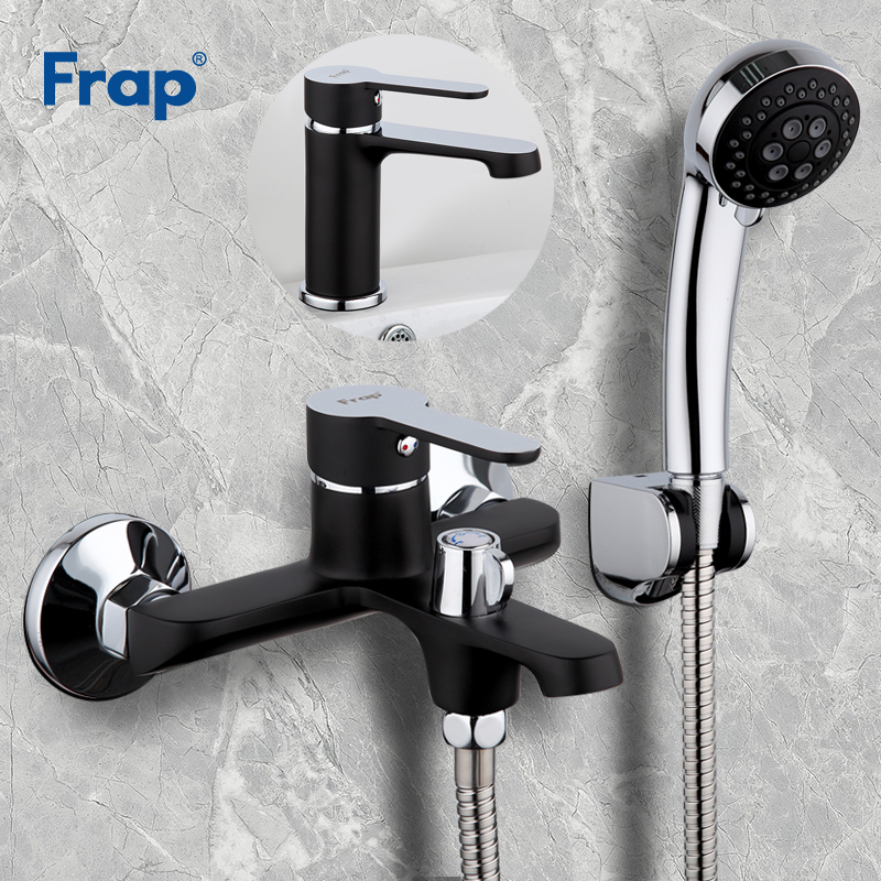Frap Black Bathroom Shower Faucet Brass Chrome&Paint Wall Mounted With Bath Basin Faucet Cold and Hot Water mixer F3242F1042 frap wall mounted shower bathroom faucet cold