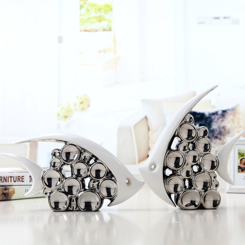 Bouble Couple Kiss Fish Vase Modern Ceramic Furnishing Articles For Living Room Home Decoration Silver Bubble 1pair