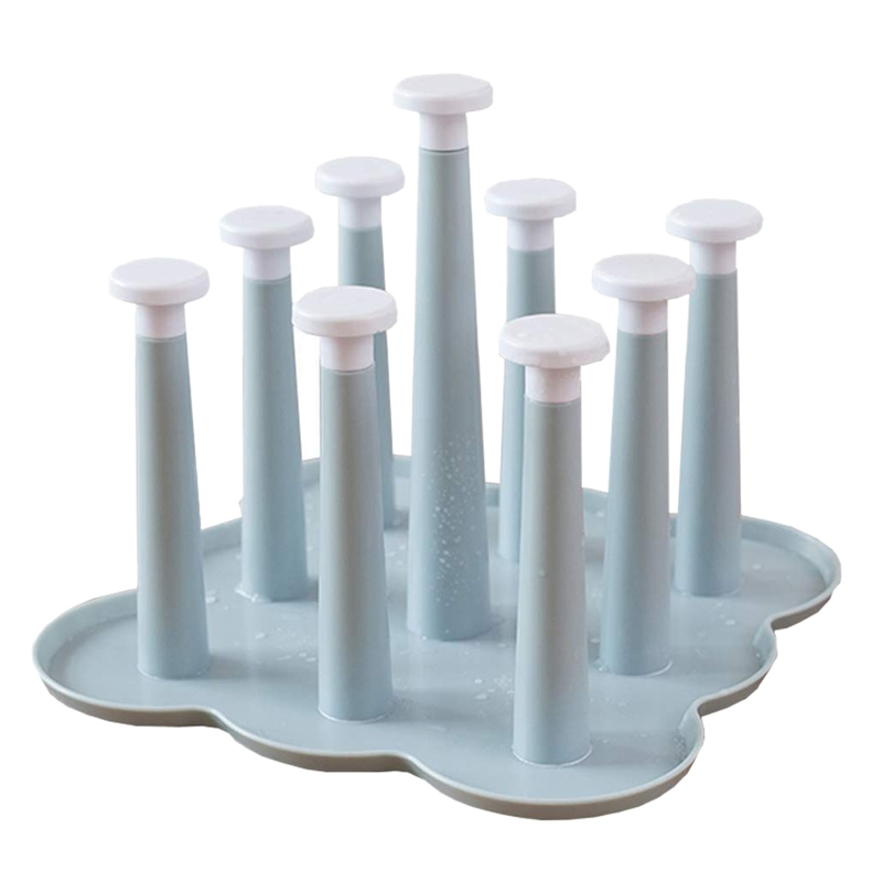 Cup Holder Creative Living Room Drain Storage Rack Glass Plastic Cup Drain Tray Drying Rack(Blue)