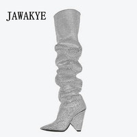 Hot Sale Luxurious Crystal Knee high Boots Women Bling Bling Rhinestones Studded boots silver black gray Runway Knight boots
