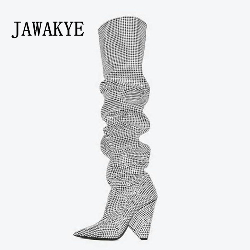 Venda quente Luxuoso Cristal Joelho Botas altas Das Mulheres Bling Bling Pedrinhas Studded botas de prata preto cinza Runway botas Cavaleiro