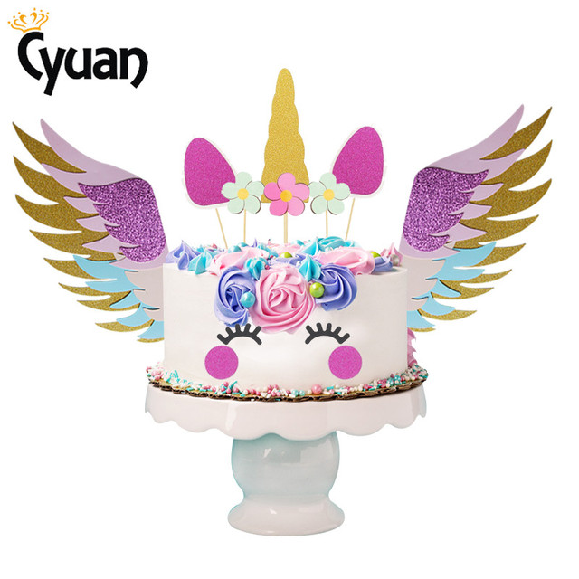 Girl Baby Shower Unicorn Cake Toppers Birthday Party Decorations