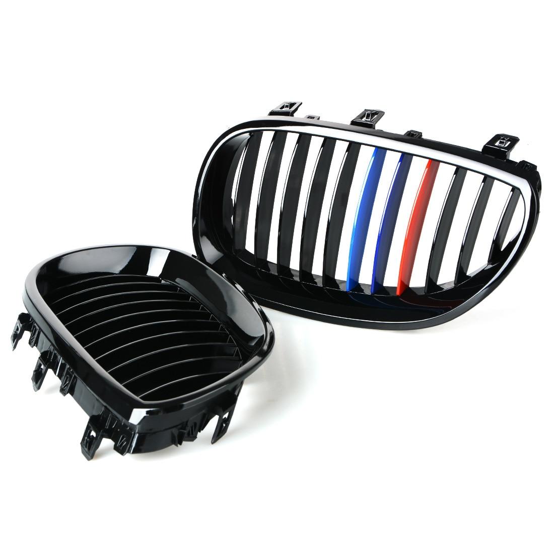 1 paire Mat Noir Pare-chocs Avant Rein Capot De Voiture Grill Racing Grille Pour BMW E60 E61 M5 5 Série 540i 530i 528i 2003-2009