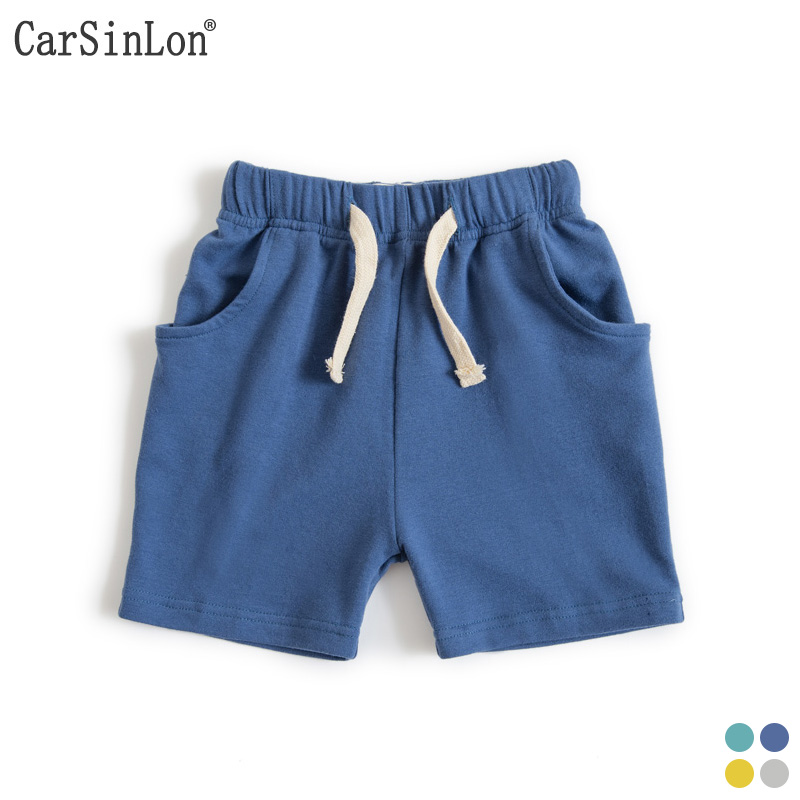 2017 Summer Boys Shorts Solid 4 Colors Casual Cotton Thin Loose Kids Short Pants Sports Beach